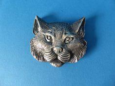 Massive Silber Katzen Gürtelschnalle Buckle ca. 1930 sehr schön 925er
