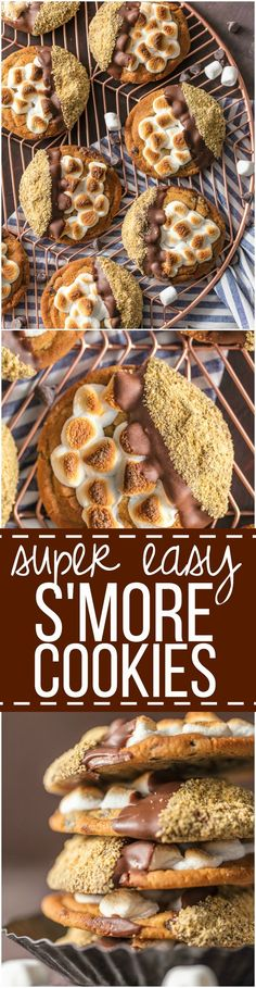 These Easy S'mores Cookies are a favorite at our house for Christmas. It can be our little secret that they're made with premade refrigerated chocolate chip cookie dough, dipped in milk chocolate, then graham cracker crumbs. Easy Cookie Recipes, Cookie Desserts, Oreo Dessert, Baking Recipes, Sweet Recipes, Dessert Recipes, Easy Recipes, Smores Cookies, Fun Cookies