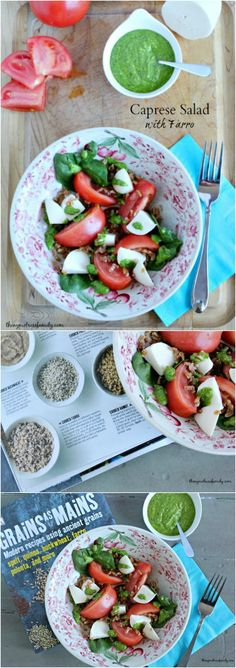 Caprese Salad with Farro and Kale & Spinach Pesto is a fresh and hearty salad perfect for lunch or dinner.