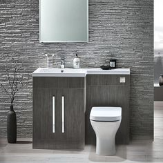 Scudo Lili Avola Grey Bathroom Furniture Pack makes a contemporary statement in your bathroom or en suite. L Shape Bathroom Furniture. Made In UK Toilet And Sink Unit, Bathroom Sink Units, Sink Vanity Unit, Toilet Sink, Bathroom Toilets, Vanity Units, Toilet Vanity Unit, Vanity Basin, Washroom