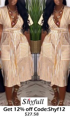 Leisure Striped Knee Length Dress different categories such as online retailer providing customers trendy and stylish clothing including dresses, tops, swimwear. Cute Fashion, Look Fashion, Girl Fashion, Womens Fashion, Cheap Fashion, Girly Outfits, Chic Outfits, Fashion Outfits, Gym Outfits