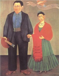 Surrealist Mexican painter Frida Kahlo de Rivera (1907 – 1954) who is best known for her surrealist  self-portraits | Frieda and Diego Rivera - 1931