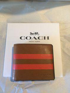 100 Authentic Coach Men's Varsity Wallet Saddle/orange Genuine Leather Coach for sale online Coaches For Sale, Coach Men, Coach Wallet, Wallets, The 100, Advertising, Card Holder, Gucci, Purses