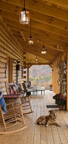 Coventry Log Homes | lovely rustic porch