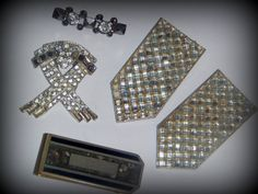 Art Deco Lot two huge crystal fur clips  a few by AVINTAGEVAULT, $60.00