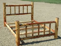 Log bed frame plans Includes log furniture the basics This Adirondack Style AKA Rustic bed frame can be made all with Cedar Furniture, Rustic Log Furniture, Furniture Plans, Furniture Removal, Adirondack Furniture, Furniture Movers, Furniture Outlet, Furniture Stores, Discount Furniture