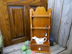 Vintage Wood Collector Spoon Rack Display With Drawer by allthatsvintage56 on Etsy