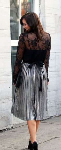 Silver metallic skirts are on trend for the holidays - and pair them with a lace sheer top and velvet pumps! Fashion blogger Marie's Bazaar shows how to style this season's it outfit at an affordable price