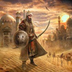 Islamic Posters, Islamic Art, Fantasy Character Design, Character Art, Persian Warrior, Arabian Knights, Warriors Wallpaper, Arabian Art, Islamic Paintings