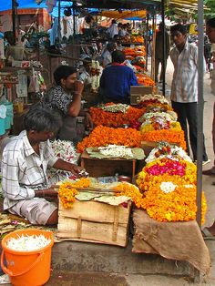 Colours of India - Flower Market, by mckaysavage via Flickr.