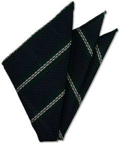 Forest Green & White Stripes On Midnight Blue Grenadine Grossa Silk Pocket Square # 2
