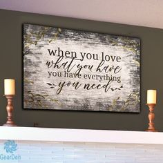 When you love you have everything you need Premium canvas quot When you love you have everything you need quot Mention the white wooden mural on the canvas What a wonderful gift hellip Diy Wood Signs, Rustic Signs, Wall Signs, Rustic Decor, Rustic Wall Art, Wooden House Signs, Wood Kitchen Signs, Kitchen Decor, Family Wall Decor