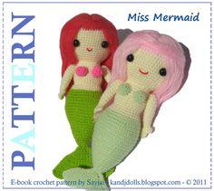 Miss Mermaid  PDF Amigurumi mermaid pattern by kandjdolls on Etsy, $4.99