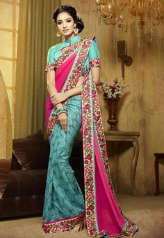#Beautiful #Pink #Liva And #Georgette #Saree With #Blouse Pink Liva And Georgette Saree designed with Heavy Zari,Resham Embroidery With Sequence Work. As shown Firozi Bangalori Silk Blouse fabric is available which can be customized as per requirements. #With #Exciting #Offer INR:-2,693.00 only Shop Now At http://tinyurl.com/zq56enr