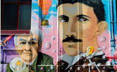Graffiti con Edison y Tesla como protagonistas, fotografiado por sibilus_basilea.