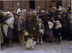 From May 27, 1944: Jewish women and children arriving at Auschwitz. Colorized picture.