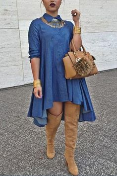 Fashion Turndown Collar Half Sleeves Asymmetrical Blue Polyester A Line Mini Dress(Please in Kind Prevail) @AnnieLoveAJ ☽♥☾