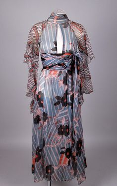 Ossie Clark dress from 1970. Like the keyhole to the front and the fitted waist with tie - would change the sleeve