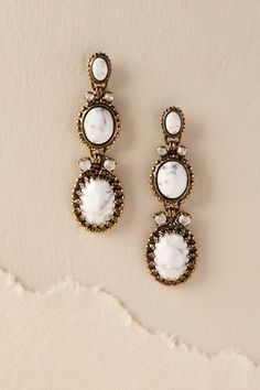 Anthropologie | BHLDN | Exclusive | Gold Henri Drop Earrings | Antique Brass | Marbled Quartz Stones | Crystals | Gold | Sparkle | Wedding | Christmas | Gift | Elegant | Evening | ad