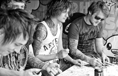 asking alexandria, band, ben bruce, black, black and Rock And Roll Tattoo, Ben Bruce, Dont Judge People, Asking Alexandria, Wallpaper Gallery, A Day To Remember, New Bands, Save My Life, Favim