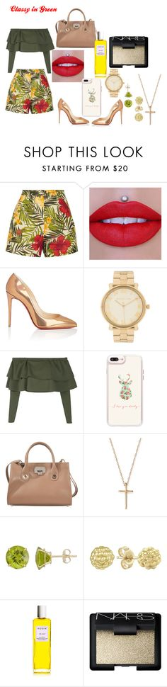"""Classy in Green"" by gothicpies on Polyvore featuring Miguelina, Christian Louboutin, Michael Kors, Boohoo, Casetify, Jimmy Choo, Bloomingdale's, Lagos, Rodin and NARS Cosmetics"