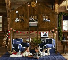 Tree House Bed | Pottery Barn Kids. Girls @  http://www.potterybarnkids.com/products/cottage-loft-bed/  and  http://www.potterybarnkids.com/products/castle-loft-bed/?cm_src=AutoRel
