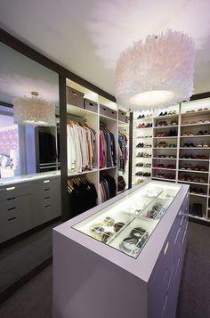 Diane Bergeron Interiors - closets - walk in closet, closet island, closet chandelier, feather drum pendant, white feather drum pendant, whi...