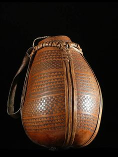 Africa | A decorated calabash  used by the Hamer  people of Ethiopia | ca. 1980