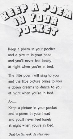 KEEP A POEM IN YOUR POCKET
