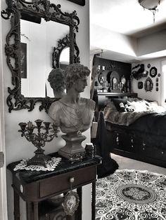 My royal antique bedroom 🖤 Dark Home Decor, Goth Home Decor, Gothic Room, Gothic House, Goth Bedroom, Bedroom Decor, Dream Home Design, House Design, Gothic Interior