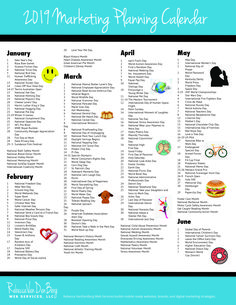 Marketing strategies infographic & data visualisation 2019 Marketing Planning Calendar Infographic Description 2019 Marketing Planning Calendar – Rebecca VanDenBerg Web Services Discovred by : Social Media And Coffee – Source – Social Media Challenges, Social Media Calendar, Social Media Content, Social Media Tips, Digital Marketing Logo, Business Marketing, Online Marketing, Content Marketing, Service Marketing