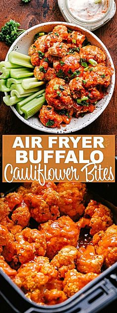 Air Fryer Buffalo Cauliflower Bites Easy healthy perfectly spicy Buffalo Cauliflower Bites prepared in the Air Fryer! Cauliflower stands as a delicious vegetarian alternative to chicken wings in this recipe for spicy Air Fryer Buffalo Cauliflower dinner Air Frier Recipes, Air Fryer Oven Recipes, Air Fryer Dinner Recipes, Healthy Dinner Recipes, Vegetarian Appetizers, Vegetarian Cauliflower Recipes, Air Fryer Recipes Vegetarian, Cooking Recipes, Vegetarian Wings