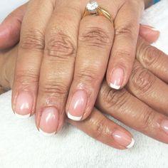"CND Shellac French ""Beau & Cream puff"" #cnd#cndshellac#naturalnails#manicure#nailsalon#ritzysnailboutique#slough#nailcare#french"