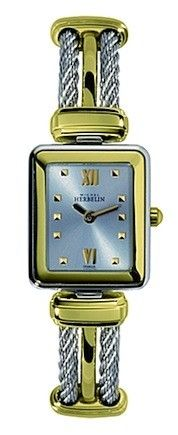 Michel Herbelin Ladies Silver Dial Two Tone Cable Watch Square Watch, Diamond Engagement Rings, Watches For Men, Cable, Wedding Rings, Jewels, Luxury, Lady, Silver