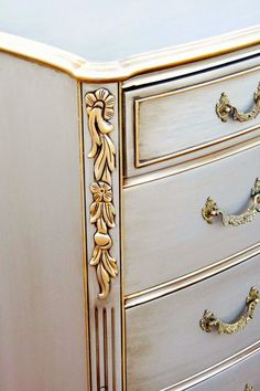 Image result for white painted furniture with gold glaze