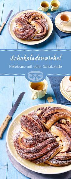 Schokoladenwirbel: Ein Hefekranz mit edler Schokolade verfeinert.