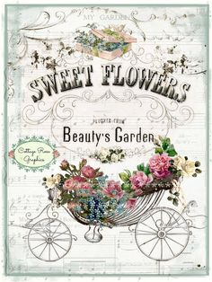Sweet Flower Beauty Garden digital by CottageRoseGraphics Decoupage Vintage, Vintage Diy, Vintage Labels, Vintage Paper, Vintage Images, Vintage Greeting Cards, Vintage Postcards, Etiquette Vintage, Decoupage Printables
