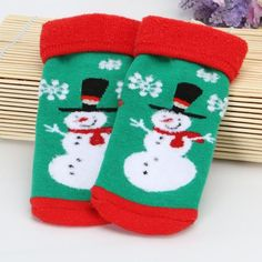 1 Pair of Christmas Socks For Baby, Winter Thick, 0-5Y, Multiple Sizes and Colors