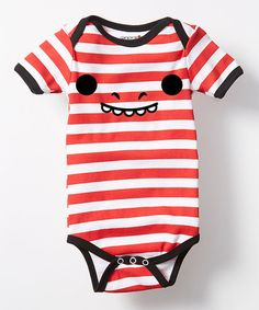 Look what I found on #zulily! Red & White Stripe Dino Face Bodysuit - Infant #zulilyfinds