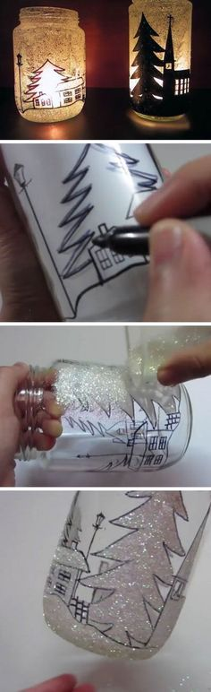 DIY Mason Jar Ideas & Tutorials for Holiday DIY Glittery Christmas Tree LanternsDIY Glittery Christmas Tree Lanterns Mason Jar Christmas Crafts, Mason Jar Crafts, Bottle Crafts, Holiday Crafts, Christmas Decorations, Christmas Tree, Christmas Lights, Bottle Art, Spring Crafts