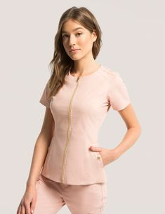 Biker Top in Blushing Pink - Medical Scrubs Biker Top in Blushing Pink is a contemporary addition to women& medical scrub outfits. Shop Jaanuu for scrubs, lab coats and other medical appare. Spa Uniform, Scrubs Uniform, Stylish Scrubs, Scrubs Outfit, Medical Uniforms, Medical Scrubs, Nursing Clothes, Costume, Chic