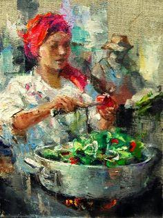 """""""Farmers Market No.  24"""" - Original Fine Art for Sale - © Julie Ford Oliver"""