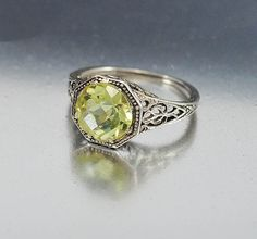 Vintage Sterling Silver Filigree Peridot Ring Size 5.5  Vintage Jewelry