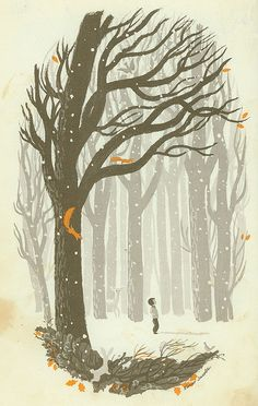 winter woods elmer jacobs illustration {1965}