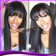 Find More Wigs Information about Brazilian Straight Full Lace Wig With Bangs Baby Hair African American Wig Human Hair Lace Front Wig With Bangs Natural Straight,High Quality wig grey,China wig boy Suppliers, Cheap wig mask from Qingdao Black Girl Hair Products Co.,LTD on Aliexpress.com