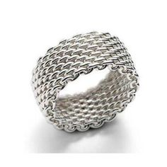 Woven Sterling Silver Heavy Mesh Link Ring