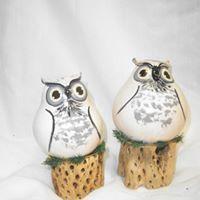 Snowy Owls - Gourds by Carolyn Reif-Lockwood