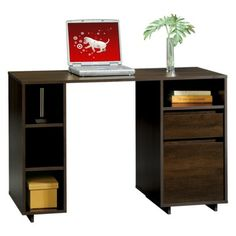 Room Essentials® Storage Desk   Espresso Space To Slide Laptop Or IPad For  Charging.