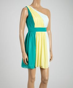 Another great find on #zulily! Yellow Color Block Asymmetrical Dress by Minuet #zulilyfinds