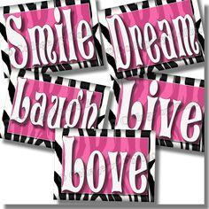 HOT PINK Zebra Print SMILE DREAM LIVE LOVE LAUGH Quote Art Girls Room Wall Decor